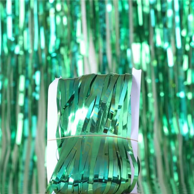 1m x 2m Online Party Supplies Australia Metallic green Tinsel Foil Fringe Rain Curtain