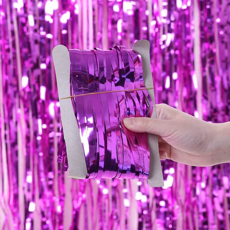 1m x 2m Online Party Supplies Australia Metallic purple Tinsel Foil Fringe Rain Curtain