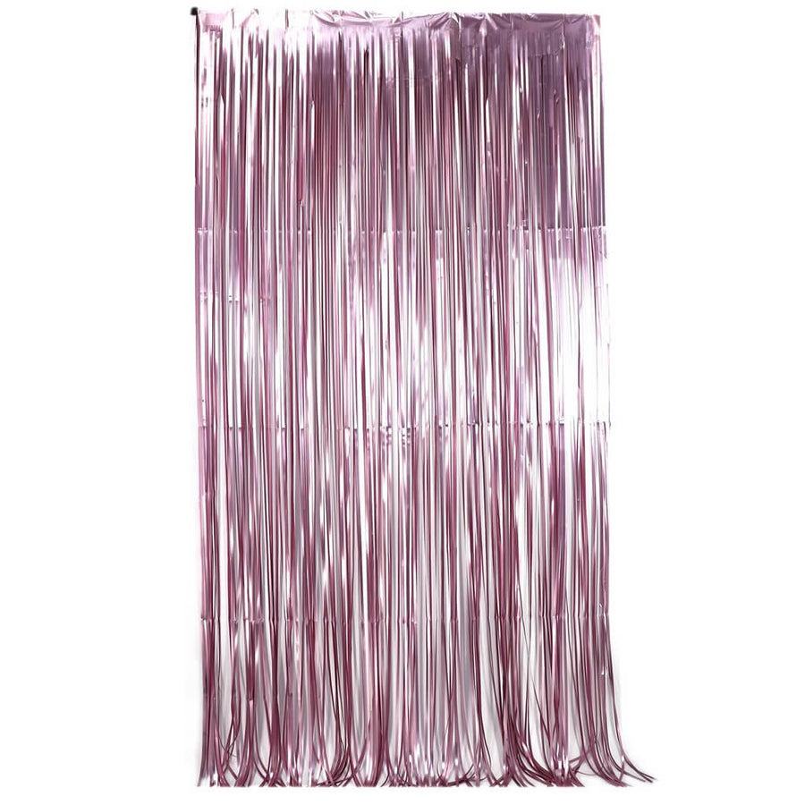 1m x 2m Metallic Light Pink Tinsel Foil Fringe Rain Curtain