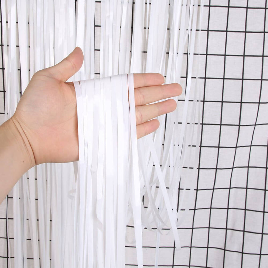 1m x 2m Online Party Supplies Australia white Tinsel Foil Fringe Rain Curtain
