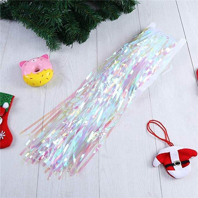 1m x 2m Online Party Supplies Australia white iridescent Tinsel Foil Fringe Rain Curtain