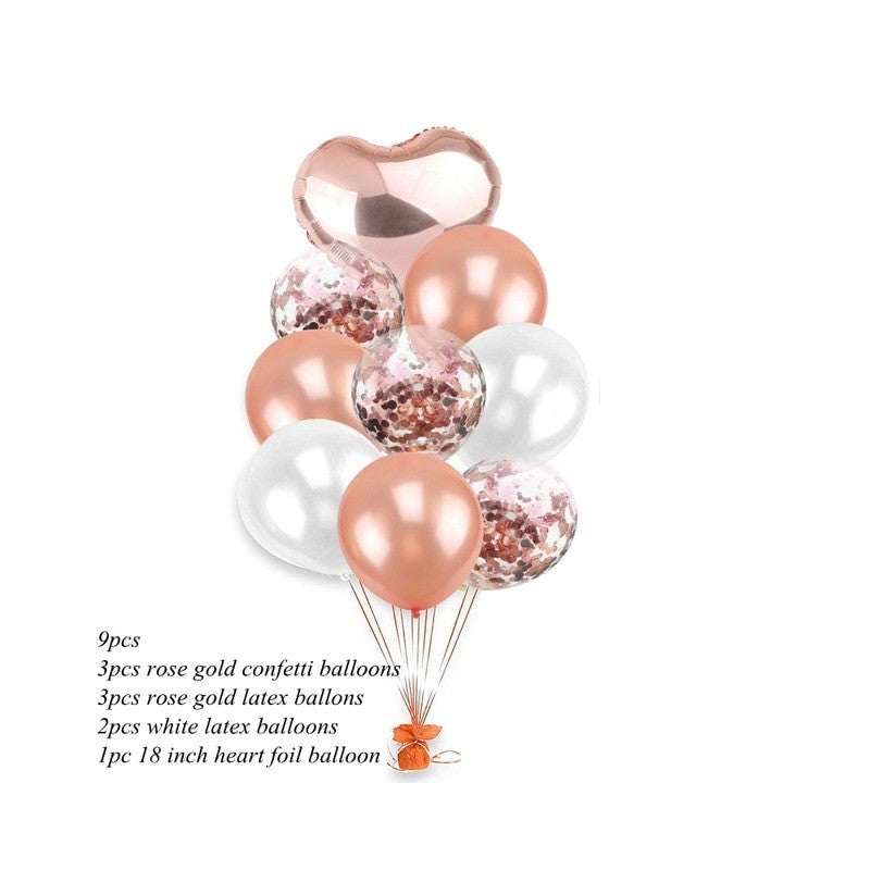 Pearl White Rose Gold Confetti Heart Balloon Bundle (Pack of 9)