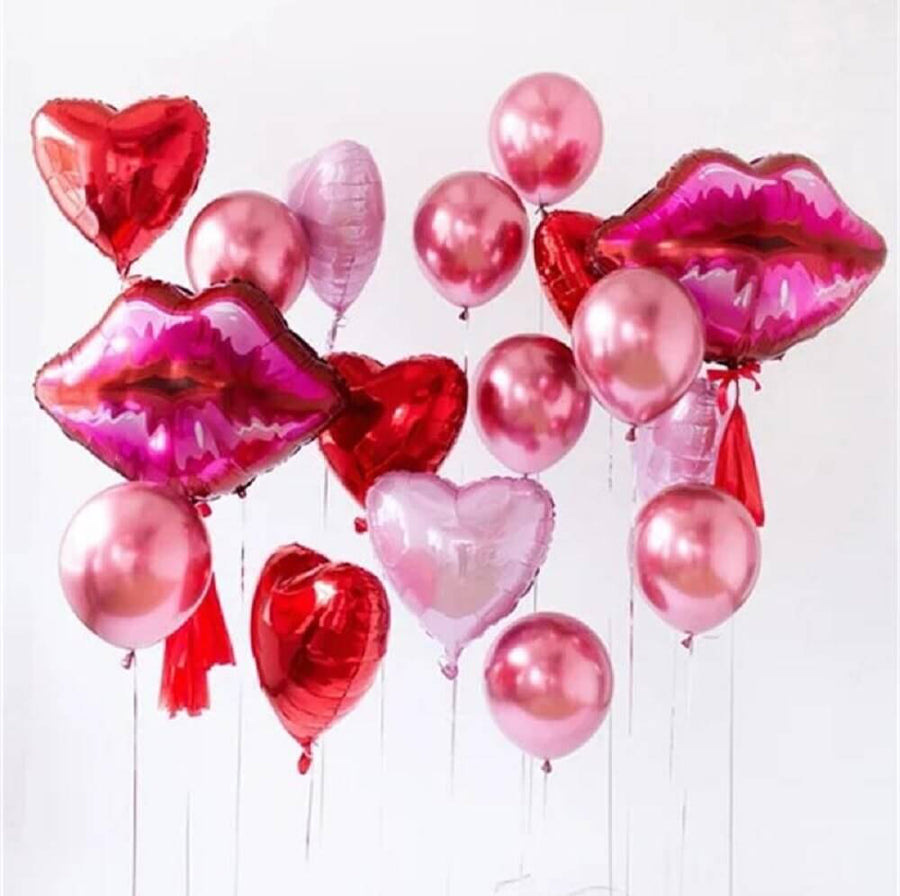 Red Lip & Heart Balloon Bouquet (17 Balloons) - Valentine's Day Party, Red Themed Birthday Party, and Wedding Decoration Ide