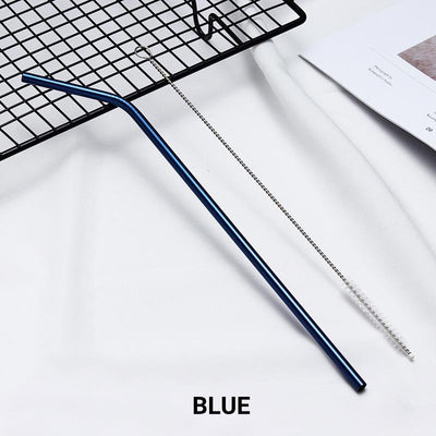 2 Pack Blue Stainless Steel Drinking Straws + Cleaning Brush & Natural Canvas Storage Pouch - Online Party Supplies