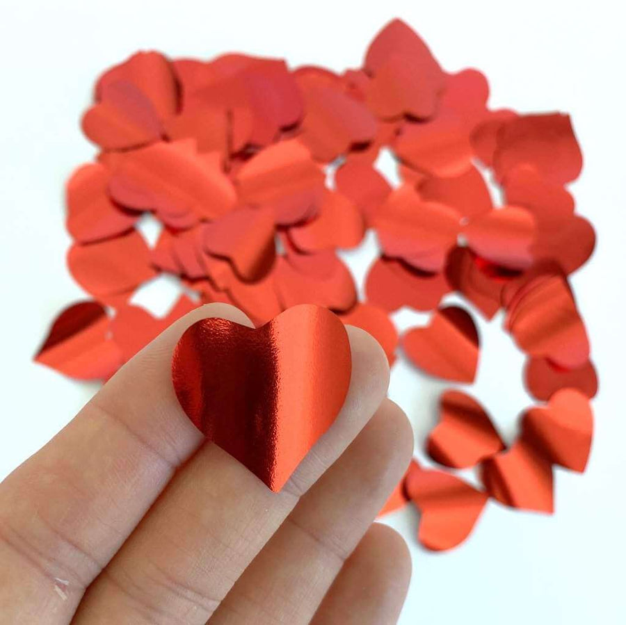 20g 2.5cm Metallic Red Heart Shaped Foil Confetti Table Scatters