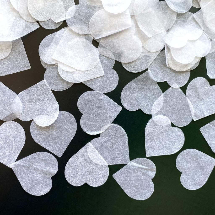 20g 2.5cm Heart Shaped Tissue Paper Confetti Table Scatters - White