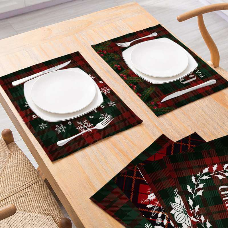 Christmas Table Placemat - 20 Designs - Holiday Tabletop Setting Decorations
