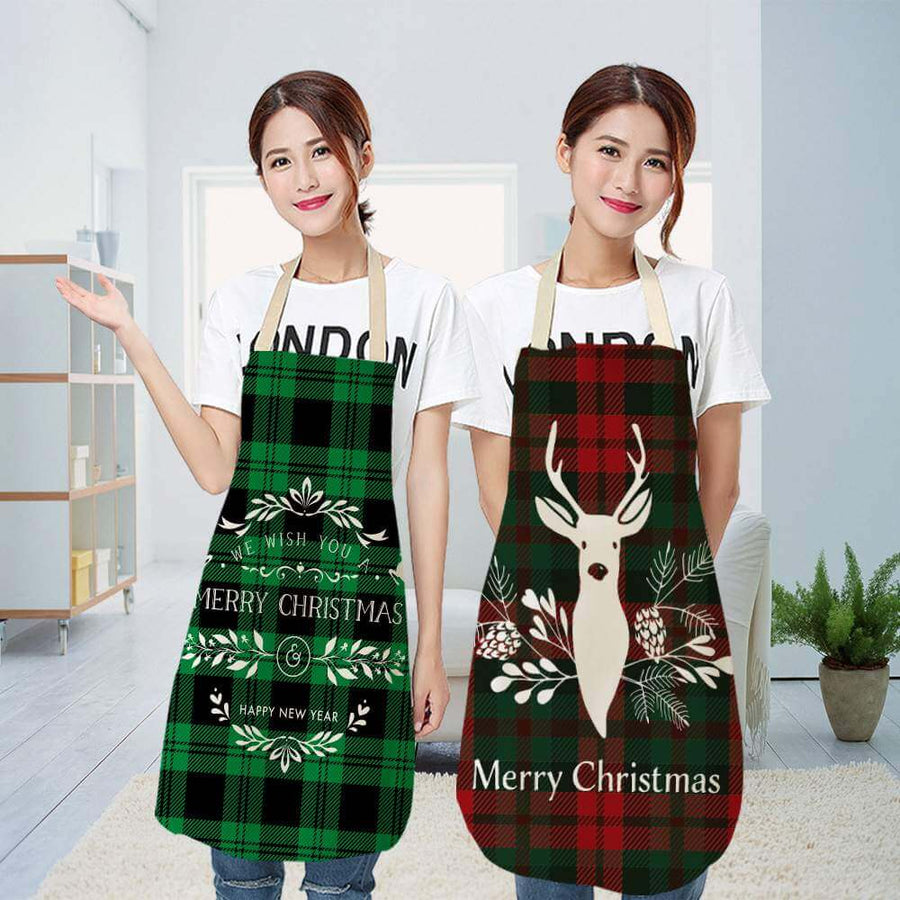 Christmas Apron for Adults - Christmas Kitchen Kitchen Decorating and Xmas Present Ideas for Mum and Wife