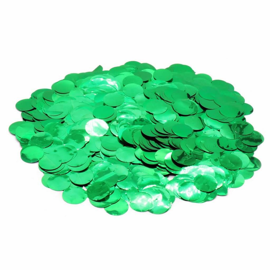 20g of 1.5 cm Round Metallic Green Confetti Dots - Wedding Table Scatters Sprinkles