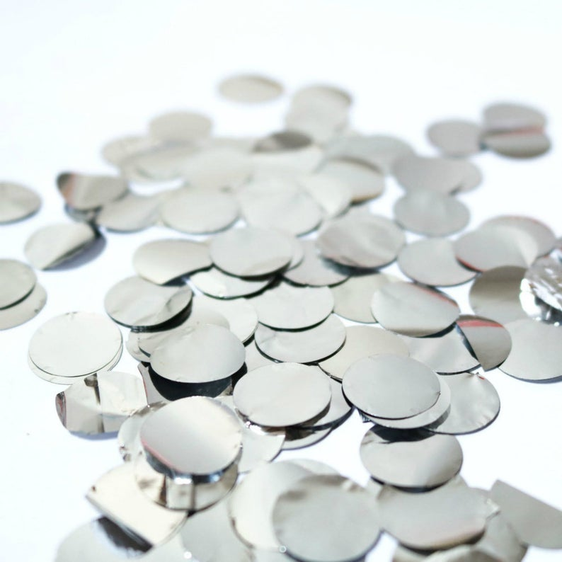 20g Round Circle Foil Party Confetti - Metallic Silver