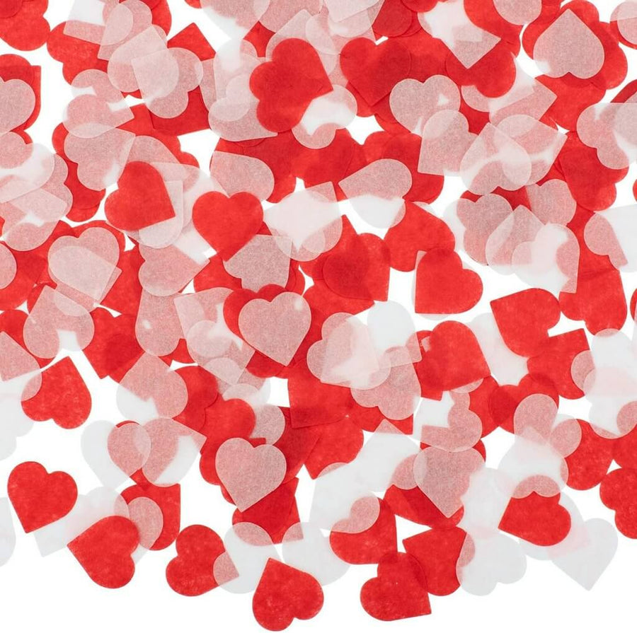 20g 2.5cm Red White Tissue Paper Heart Confetti Table Scatters
