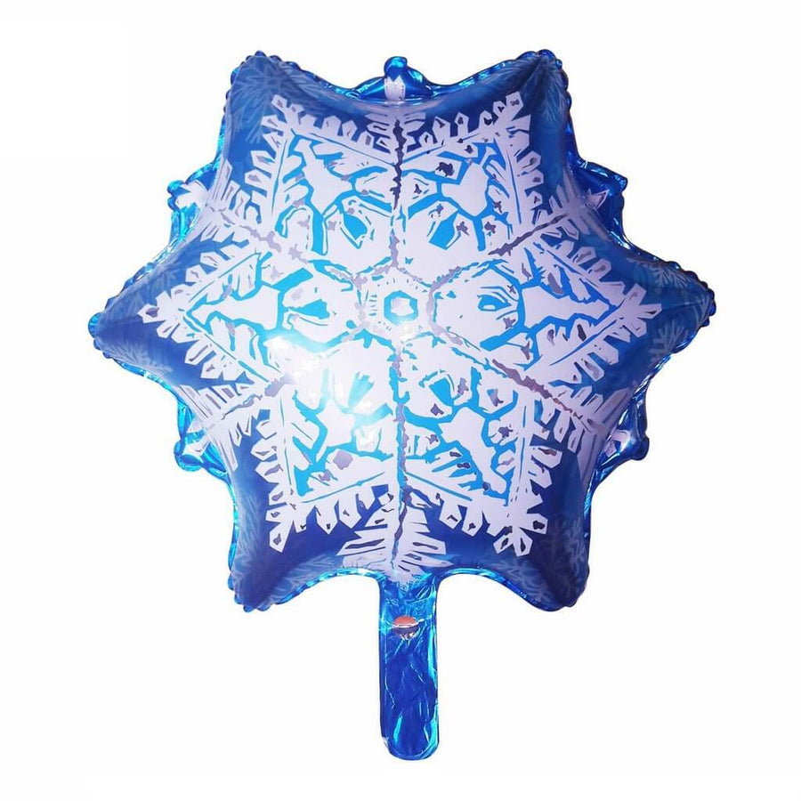 20 Inch Blue & White Snow Flake Shaped Helium Supported Foil Balloon - Christmas Party Decorations