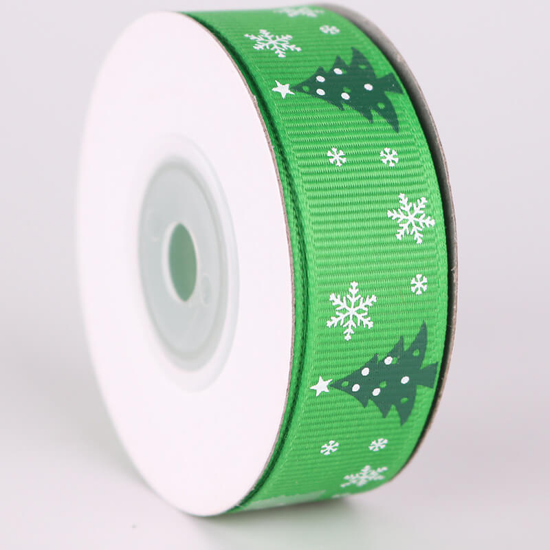 20mm x 9m Green Christmas Tree Ribbon Spool (10 Yards) - Green
