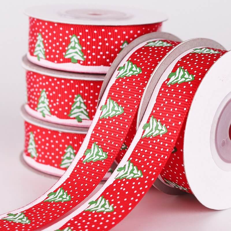 20mm x 9m Green Christmas Tree & Snowflakes Ribbon Spool (10 Yards)