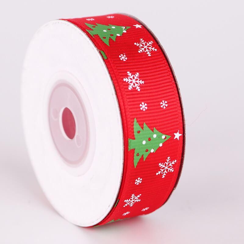 20mm x 9m Green Christmas Tree Ribbon Spool (10 Yards) - Red