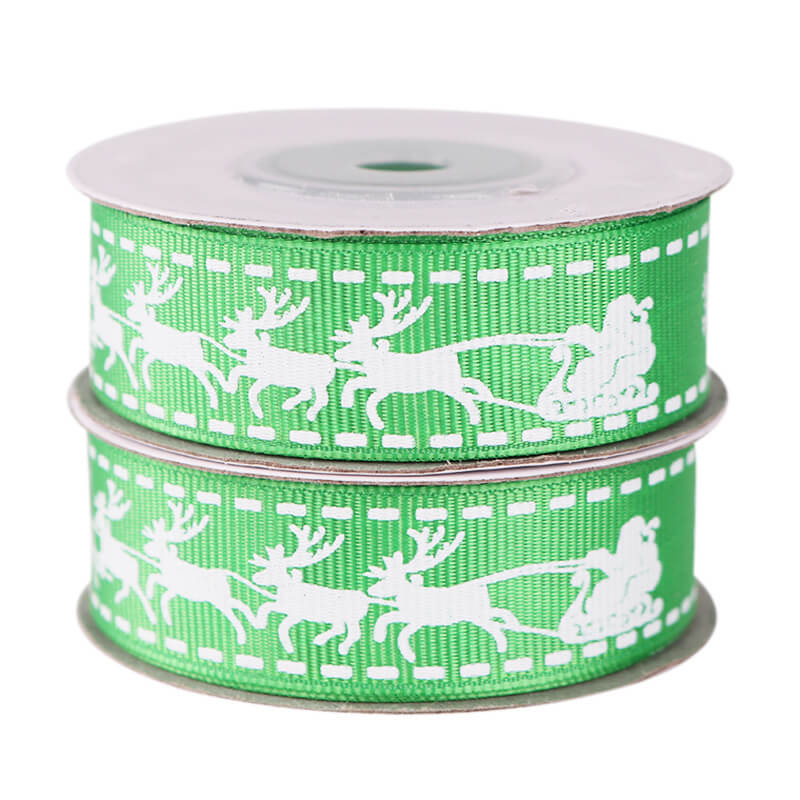 20mm x 9m (10 yards) Green Nordic Reindeer Printed Grosgrain Christmas Ribbon Spool - Christmas Gift Wrapping Supplies