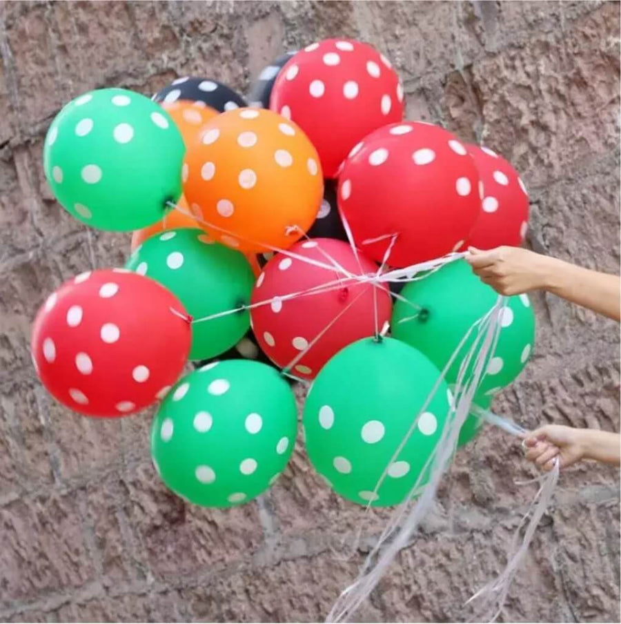 "12"" Online Party Supplies Red Green Orange Black Polka Dot Latex Balloon Bouquet (Pack of 20)"
