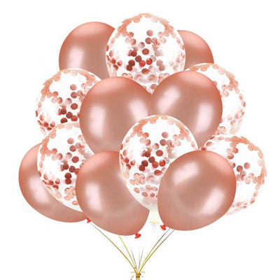 20 counts Online Party Supplies 12 Inch Rose Gold Latex Gold Confetti Bridal Shower Balloon Bouquet