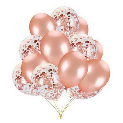 20 counts Online Party Supplies 12 Inch Rose Gold Latex Gold Confetti Wedding Balloon Bouquet