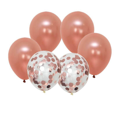 20 counts Online Party Supplies 12 Inch Rose Gold Latex Gold Confetti Hen Party Balloon Bouquet