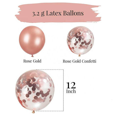 20 counts Online Party Supplies 12 Inch Rose Gold Latex Gold Confetti Balloon Bouquet