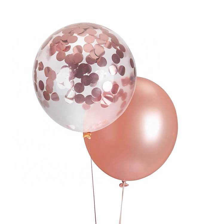 12 Inch Rose Gold Confetti Balloon Bouquet - 10 Pieces