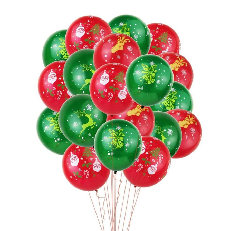 12 Inch Red & Green Christmas Printed Latex Balloon Bundle (20 pieces) - Christmas Party Decorations