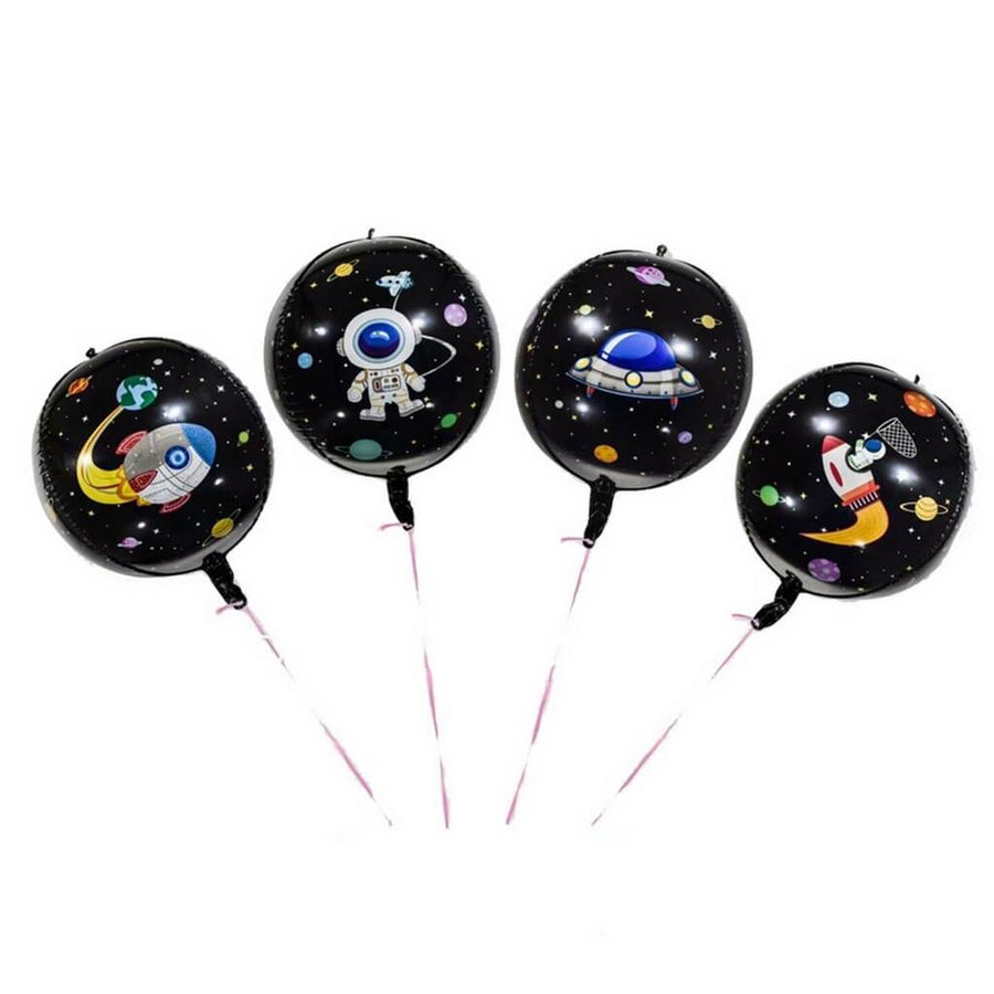 "22"" 4D ORBZ Round Black Outer Space Party Foil Balloon - Astronaut, Spaceship Themed Party Decorations"