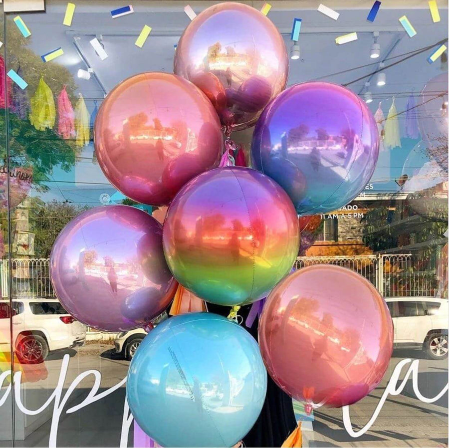 22 Inch Jumbo Ombre ORBZ 4D Sphere Metallic Foil Balloon - Online Party Supplies