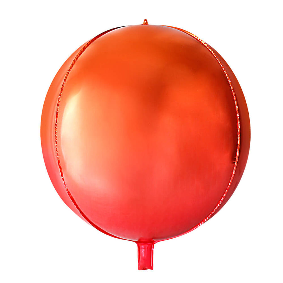 "22"" Jumbo Ombre ORBZ Orange and Red 4D Sphere Round Metallic Foil Balloon - Online Party Supplies"