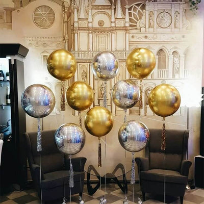 "22"" Online Party Supplies Jumbo Metallic Gold Silver ORBZ 4D Sphere Party Wedding Bridal Shower Balloon"