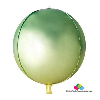 22 Inch Jumbo Ombre ORBZ 4D Sphere Metallic Green Yellow Foil Balloon - Online Party Supplies