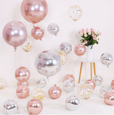 22 Inch Jumbo ORBZ 4D Rose Gold Sphere Foil Balloon - Online Party Supplies