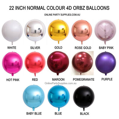 "22"" Online Party Supplies Jumbo Multicoloured ORBZ 4D Sphere Round Foil Party Wedding Bridal Baby Shower Birthday Party Balloon"