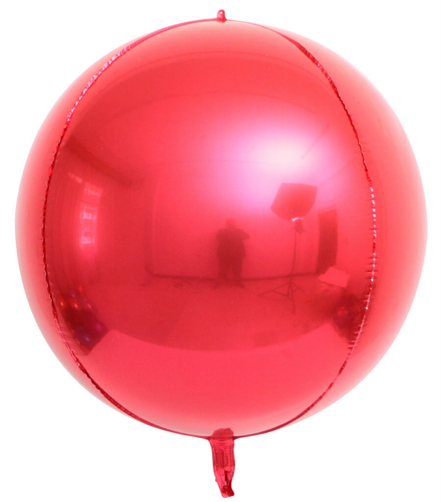 "22"" Jumbo Metallic Red ORBZ 4D Sphere Round Foil Balloon"
