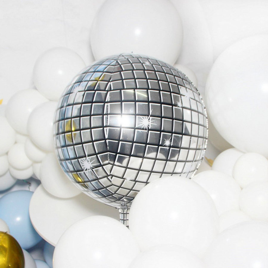 "22"" Jumbo ORBZ Sphere Silver Metallic Disco Ball Foil Balloon"