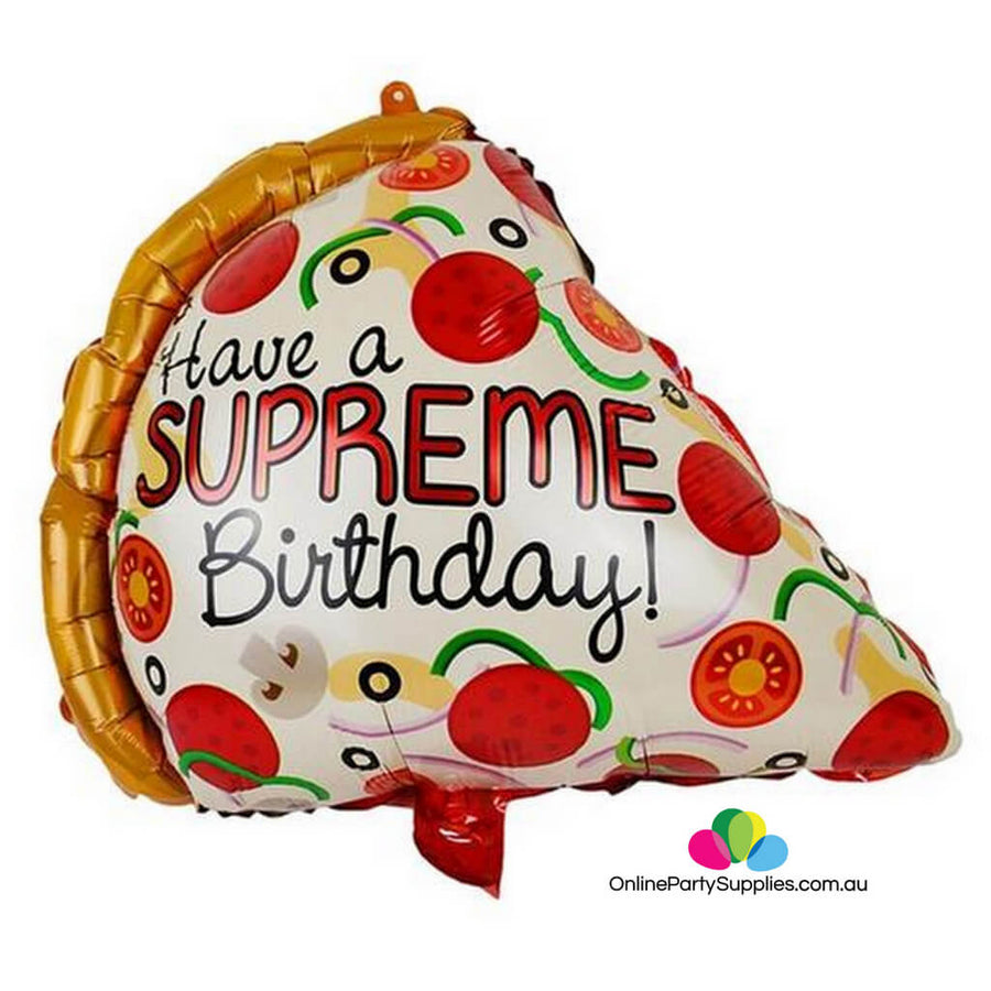 "22"" Giant Have A Supreme Birthday Pepperoni Pizza Slice Foil Balloon"