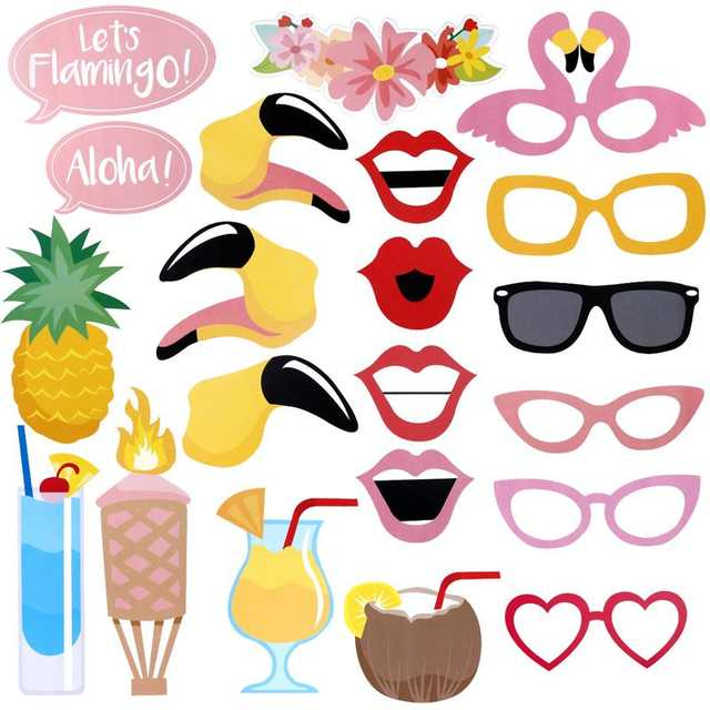 This 23 piece pack of DIY Flamingo photo booth props is perfect for any fun Hawaiian, Beach, Tropical, Luau for kids party and adults party decorations. tropical themed bachelorette party, flamingo themed hen party, Hawaiian themed party, beach, pool party, Luau, Tiki wedding decor, Let's Flamingle, Luau bridal shower, Aloha pineapple tropical summer party decorations.