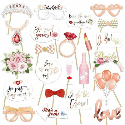 23pcs Rose Gold Floral Bridal Shower Paper Photo Booth Props
