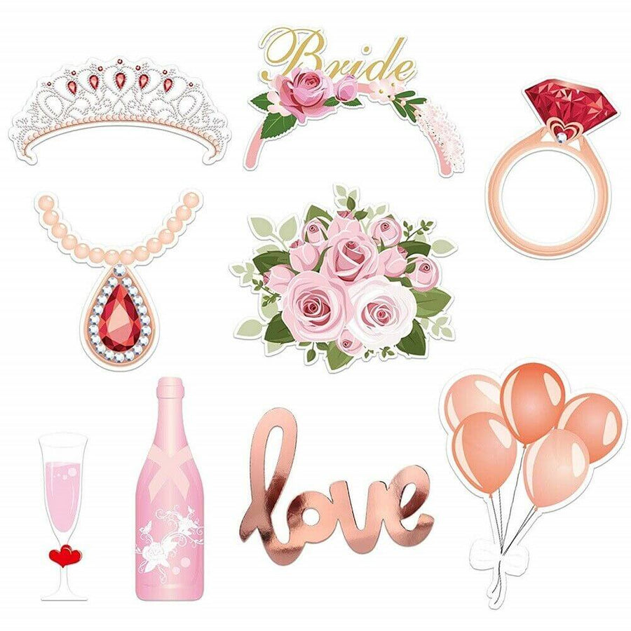Rose Gold Floral Bridal Shower Photo Booth Props 23 Pack