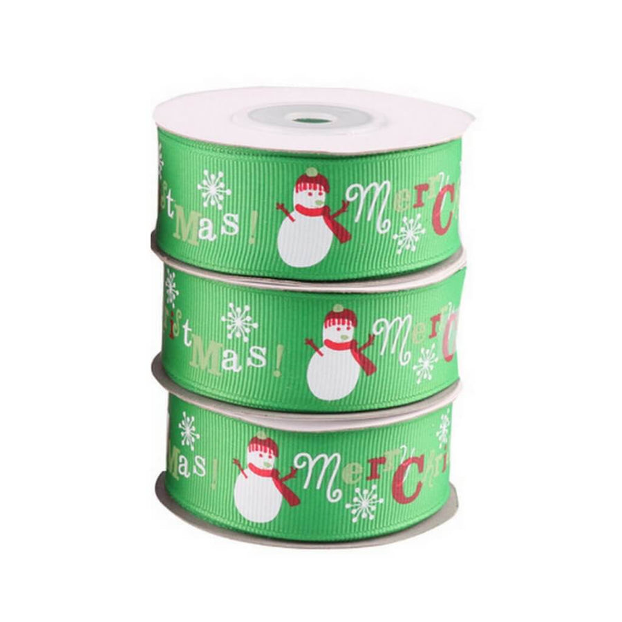 25mm x 9m Green Merry Christmas Tree Grosgrain Ribbon Spool (10 Yards)