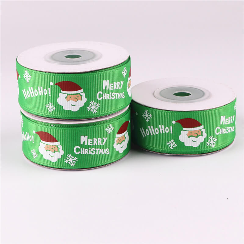 25mm x 9m Green Merry Christmas Santa Grosgrain Ribbon Spool (10 Yards)