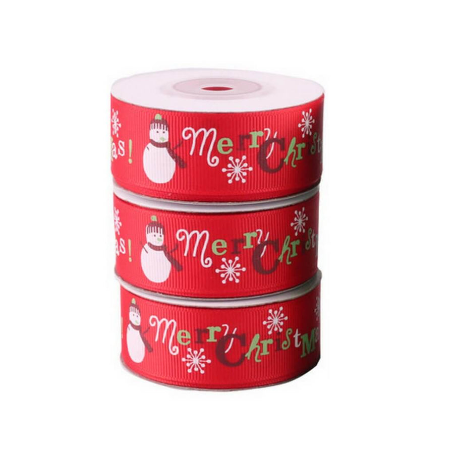 25mm x 9m Red Merry Christmas Tree Grosgrain Ribbon Spool (10 Yards)