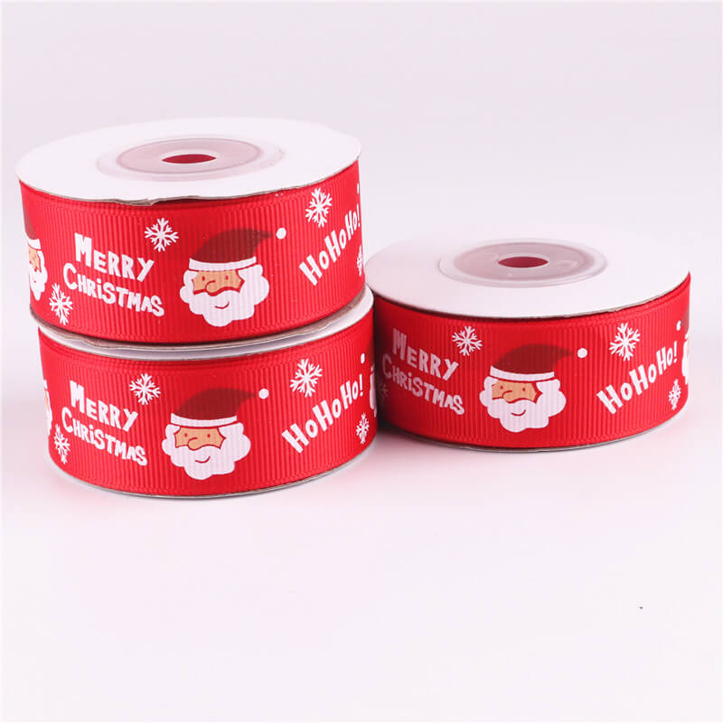 25mm x 9m Red Merry Christmas Santa Grosgrain Ribbon Spool (10 Yards)