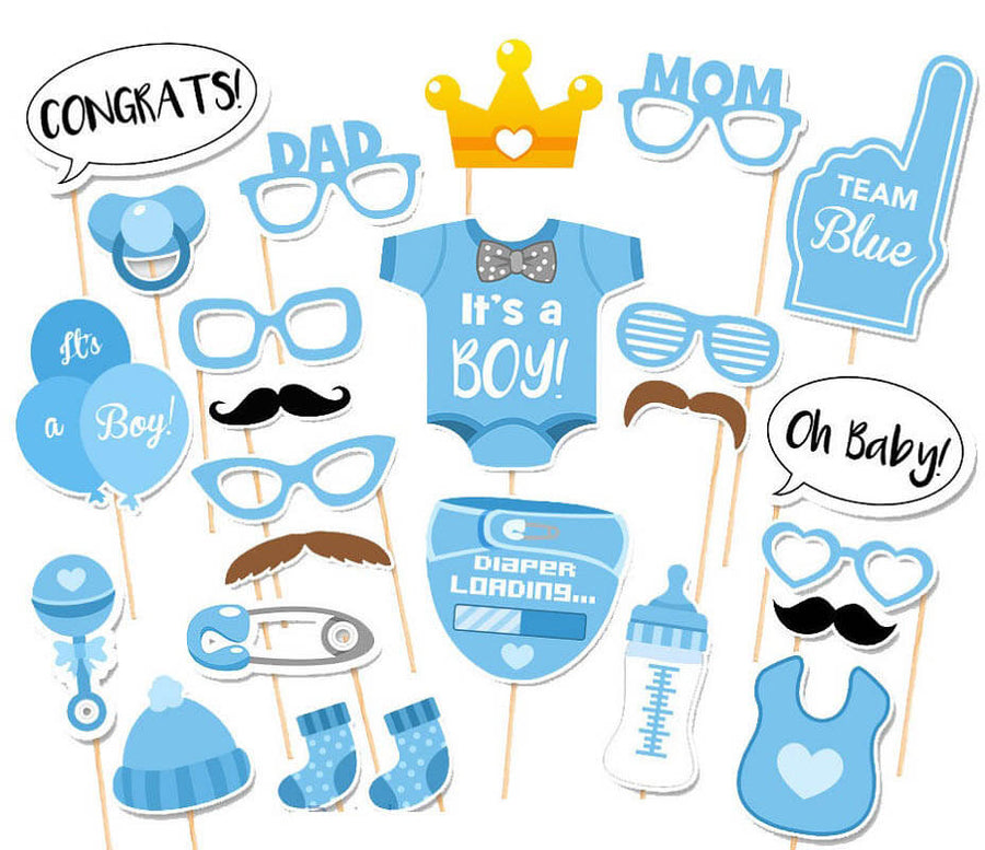 It's A Boy Baby Shower Party Photo Booth Props Set (25 pieces)
