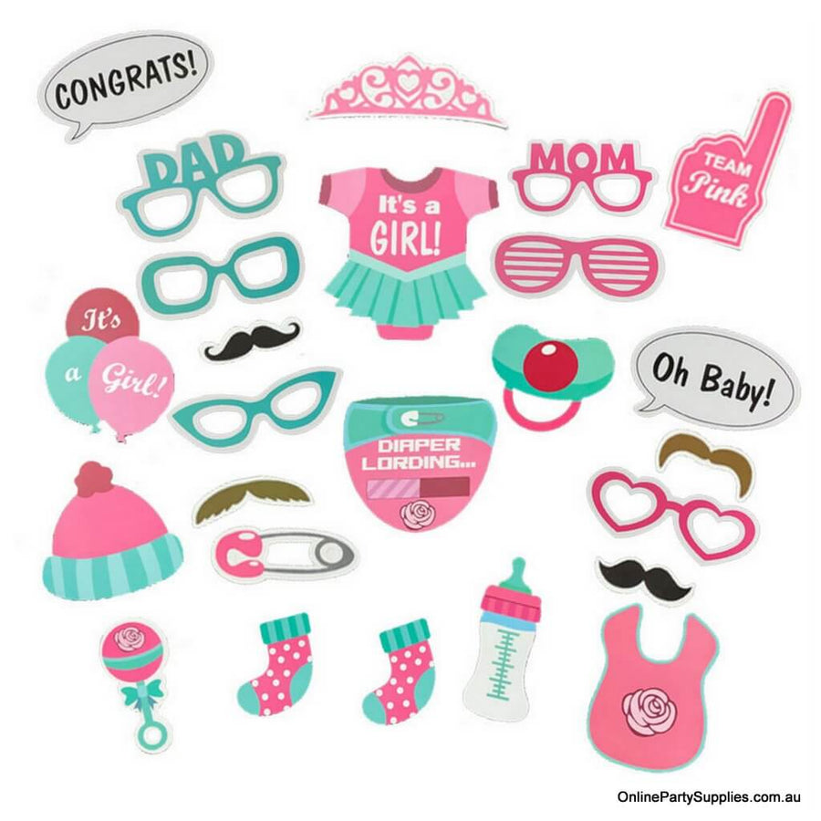 It's A Girl Baby Shower Party Photo Booth Props Set (25 pieces)