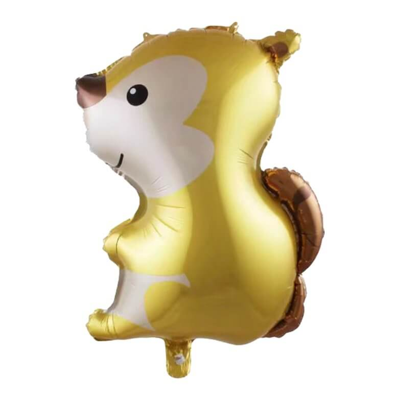 26 Inch Gold Woodland Squirrel Animal Shaped Foil Balloon - Jungle Animal / Woodland Animal Themed Party Decorations