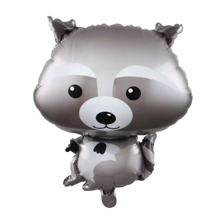 26 Inch Grey Woodland Racoon Animal Shaped Foil Balloon - Jungle Animal / Woodland Animal Themed Party Decorations