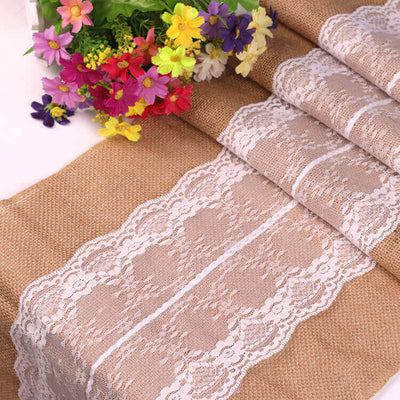 270m natural jute white lace hessian burlap wedding table runner
