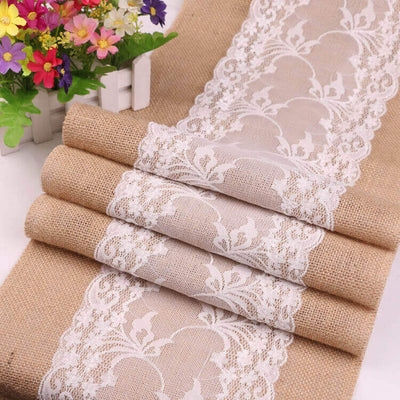 2.7m natural jute white lace hessian burlap wedding table runner